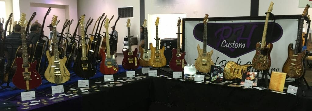 A display of RH Custom Guitars learn more by reading the blog
